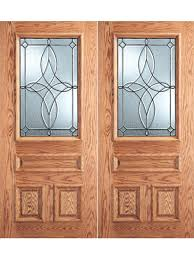 diamond design decorative glass 3 panel 1 2 lite front double door by aaw exterior