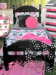 black white pink damask themed room that sold