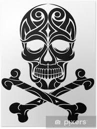 Plakát Umělecké Tetování Lebka Se Zkříženými Hnáty