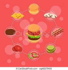 Bun Chart Vector Isometric Burger Ingredients Infographic Breakfast Bun