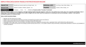 Freelance Editor Translator Proofreader Resume Cover Letter Cv