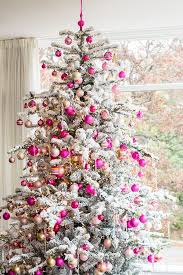 Vintage White Flocked Christmas Tree with Pink Decoration