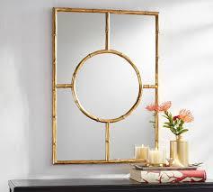gold bamboo mirror. Monique Lhuillier Gold Bamboo Trellis Mirror