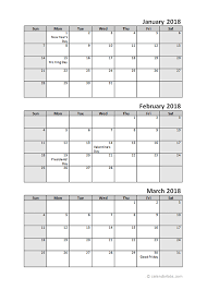 month template 2018 printable 2018 quarterly calendar 3 months templates calendar office