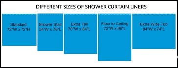 shower curtain liner sizes size of stall