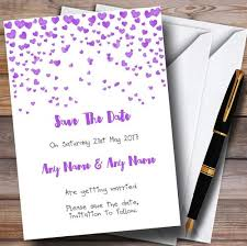 What Are Save The Date Cards Purple Heart Confetti Personalised Wedding Save The Date Cards