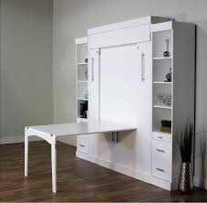 queen size euro vertical wallbed with fold down table in birch wood
