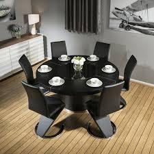 modern large round black oak dining table 6 black z shape chairs 6736