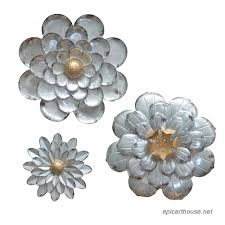 galvanized flowers wall décor set of 3 metal flower wall art by giftme 5