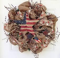 patriotic wreaths for front doorpatriotic burlap wreaths  Burlap Patriotic Wreath by