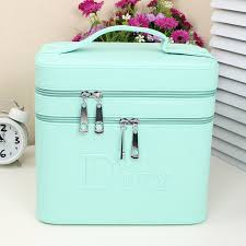 double layer pu leather cosmetic bags and cases makeup organizer make up case box beauty vanity
