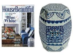 house beautiful front cover featured garden stool to order this featured garden stool go to our blue white garden stool collection see above