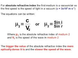 8 for absolute refractive index
