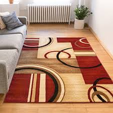 deco rings red geometric modern casual area rug 5x7 5 3 x
