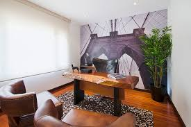 office backdrop. refined home office with a lively backdrop and live edge workdesk design lo studio g