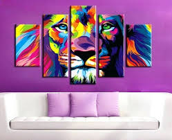 wall decor art canvas animals abstract piece color print lion king animal abstract painting modern home living room wall decor art print picture canvas