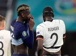Germany defender antonio rudiger looked to bite france superstar paul pogba during the two nations' euro 2020 clash on tuesday evening. 3d1ax02cppjsgm