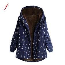 Us 20 71 22 Off Winter Jacket Women Warm Outwear Cat Print Hooded Pockets Vintage Plus Size Haspvintage Ladies Fleece Thick Women Coats In Parkas