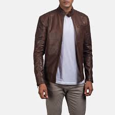 mens dean brown leather biker jacket 1