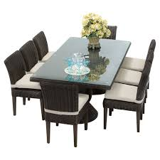 outdoor tk clics venice wicker 9 piece rectangular patio dining set with 16 cushion covers gray wheat