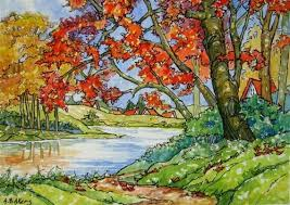 """""""Storybook Cottage Series Autumn on the <b>Lake</b>"""" by Alida Akers ..."""
