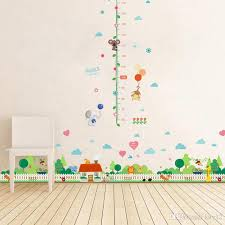 Grow Up Monkey Animals Height Measurement Growth Chart Flowers Wall Stickers For Kids Room Removable Vinyl Mural Art Wall Decal