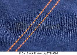 Blue Jeans Denim Texture With Orange Stitches