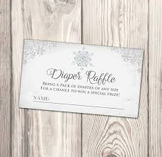 Diaper Shower Invitation Amazon Com Snowflake Diaper Raffle Baby Shower Card Winter Diaper