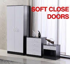 details about white black high gloss trio 3 piece bedroom furniture set wardrobe chest bedside