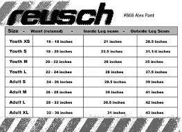 Reusch Goalie Pants Size Chart Reusch Alex Goalkeeper Pant 868