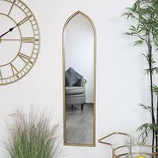 tall slim gold arch mirror