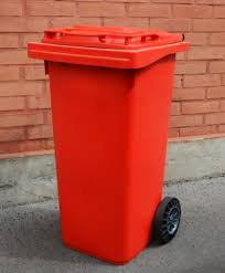 red plastic wheeled outdoor trash cans for waste organizer idea