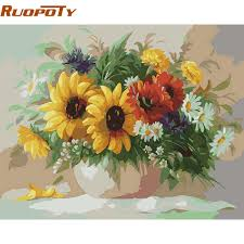 ruopoty diy painting by numbers sunflowers wall art canvas oil painting hand painted home decoraiton for on diy sunflower wall art with ruopoty diy painting by numbers sunflowers wall art canvas oil