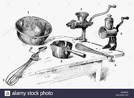 Kitchen utensils Antique drawing ca 1900 Stock Photo 60562065