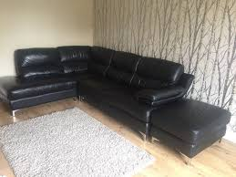 black leather couch. DFS Black Leather Right Hand Corner Unit Sofa And Foot Stool Couch