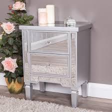 mirrored bedside furniture. Bedside Table - Versailles Collection Mirrored Bedside Furniture