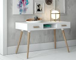 white desk home office. Modern White Desk With Oak Legs And Handles 2 Drawers Home Office