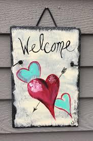 Valentine's Day Slate Heart door hanging, Front door decor, Hand ...