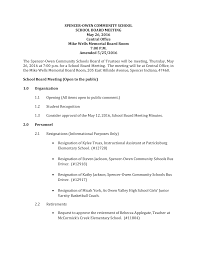 SPENCER-OWEN COMMUNITY SCHOOL SCHOOL BOARD MEETING May 26, 2016 Central  Office Mike Wells Memorial Board Room 7:00 P.M. Amended