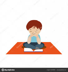 sitting on carpet clipart. boy sitting on the carpet and reading a book or tutorial. cartoon character isolated white background. vector, illustration eps10 \u2014 vector by shendart clipart