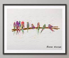 birds on wire original watercolor canvas painting wall art poster print pictures for living room home on birds on wire canvas wall art with birds on wire original watercolor canvas painting wall art poster