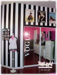 i could do something similar in rys room with her closet love this pink with black white stripes color scheme for my laundry room and walk in bedroom teen girl rooms walk