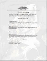 Sample Resume For Construction Worker Prepasaintdenis Com