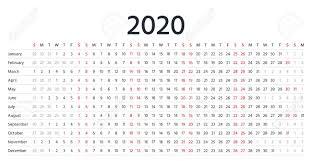 2020 Calendar Linear Vector Yearly Organizer Calender Stationery