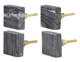 Set Of 4 Square Dark Gray Marble Cabinet Knobs Decorative Drawer
