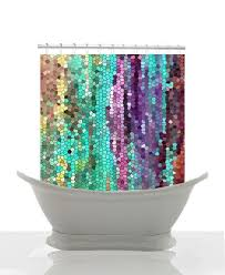 unique shower curtain. cool beautiful shower curtain -morning has broken mosaic , unique fabric teal,