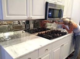 mirror tile backsplash kitchen mosaic glazed marble diy