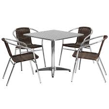 31 5 square aluminum indoor outdoor table set with 4 dark brown rattan chairs