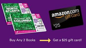 now thru wednesday 4 3 you can get a free 25 amazon digital gift card when you purchase two savearound local coupon books