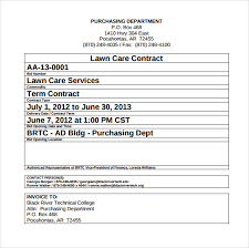 Free Service Contract Template Lawn Service Contract Template 11 Download Documents In
